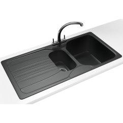 Franke Kitchen Sinks Clocks Calypso Propack Cog 651 Fragranite Graphite Sink