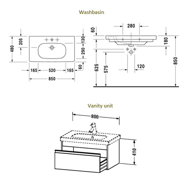 Duravit Ketho 800mm 1 Drawer Unit With D-Code 850mm Basin