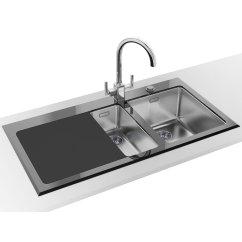 Franke Kitchen Sinks Appliances Sale Kubus Kbv 651 Black Glass 1 5 Bowl Inset