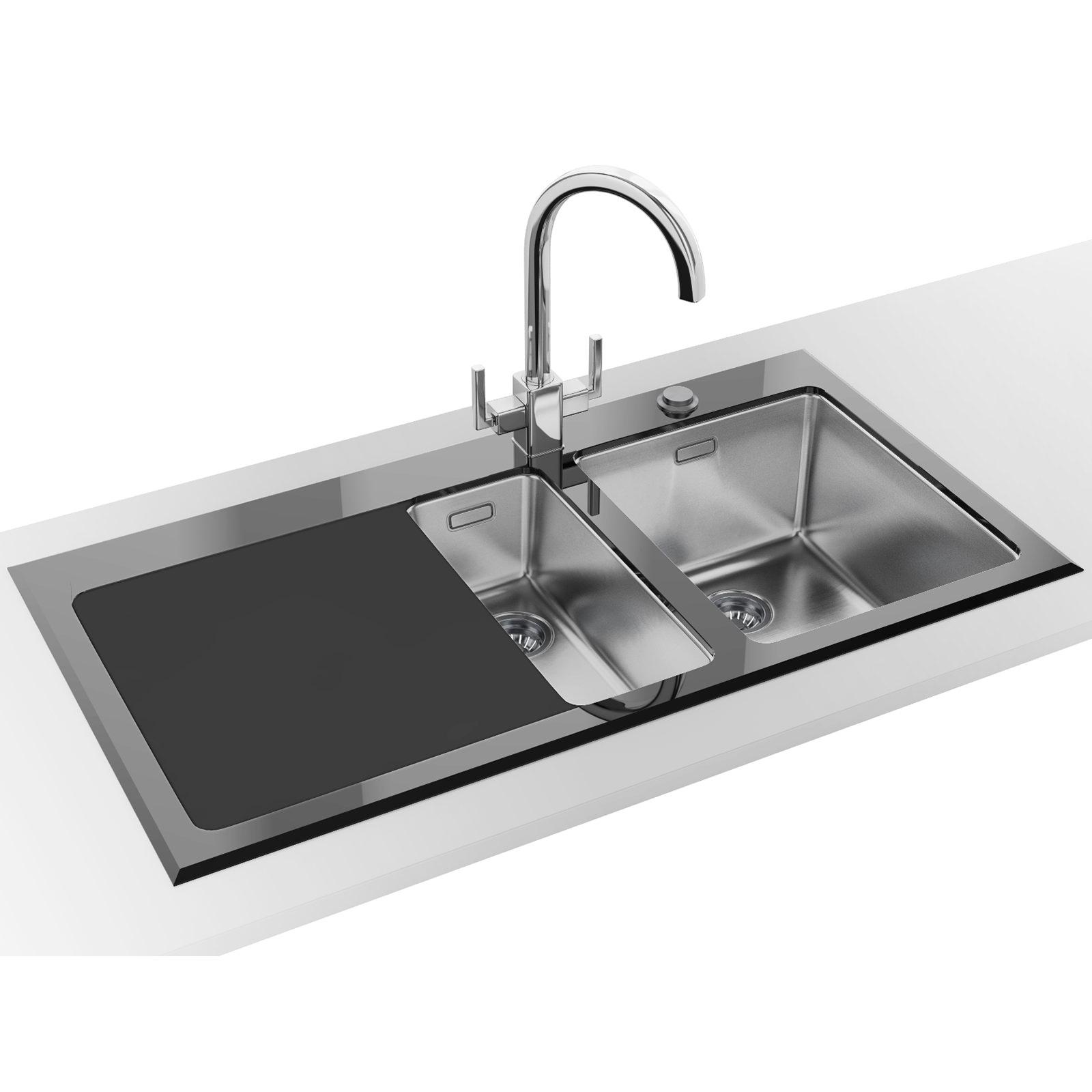 franco kitchen sinks moen faucet schematic franke kubus kbv 651 black glass 1 5 bowl inset