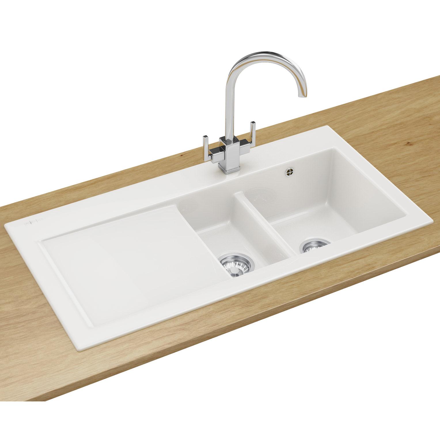 white kitchen sink ikea modern cabinets franke mythos designer pack mtk 651 ceramic and