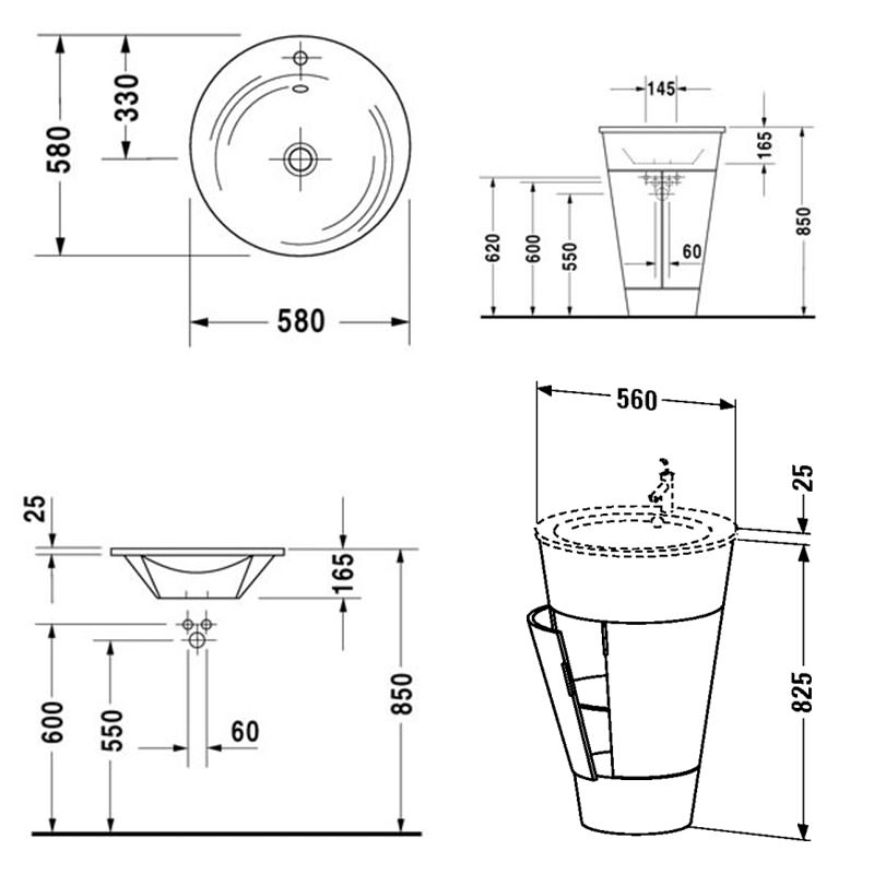 Duravit Starck Floorstanding 560mm Vanity Unit And 580mm