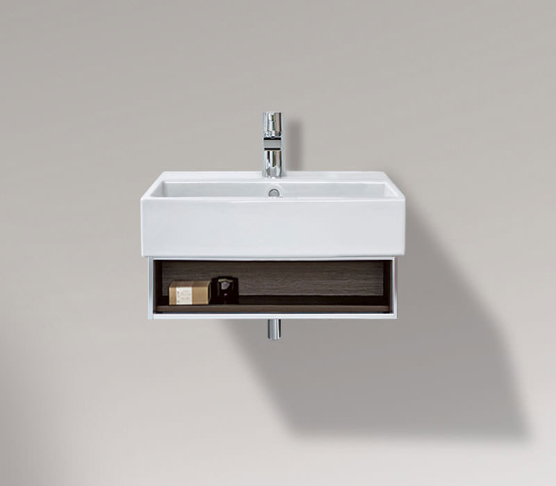 open compartment vanity unit and basin