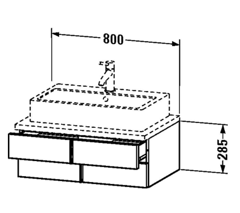 Duravit Vero 800 x 518mm 2 Drawer Unit For Console
