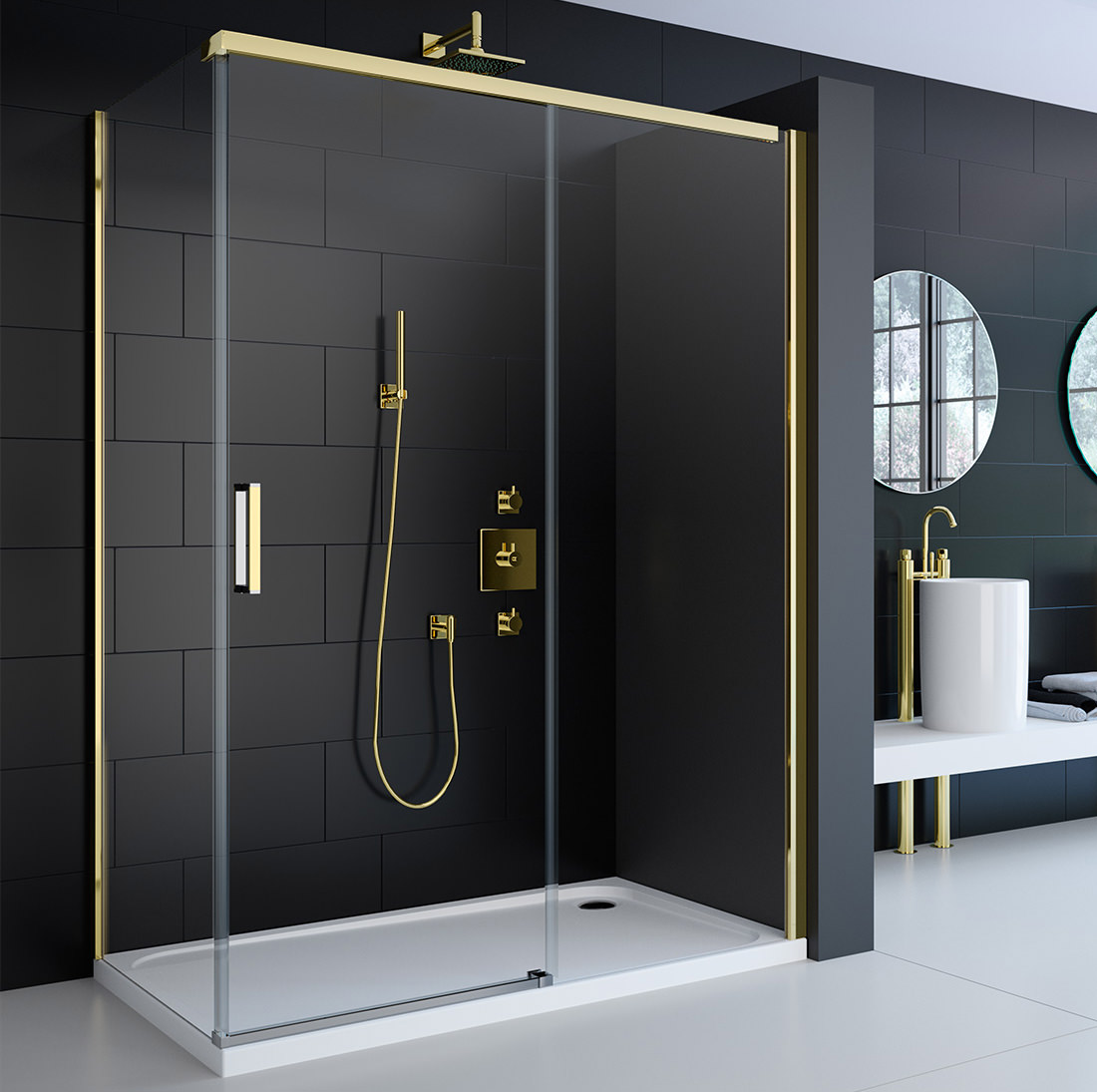 Merlyn 8 Series Gold Sliding Door 1200mm  A0920CH