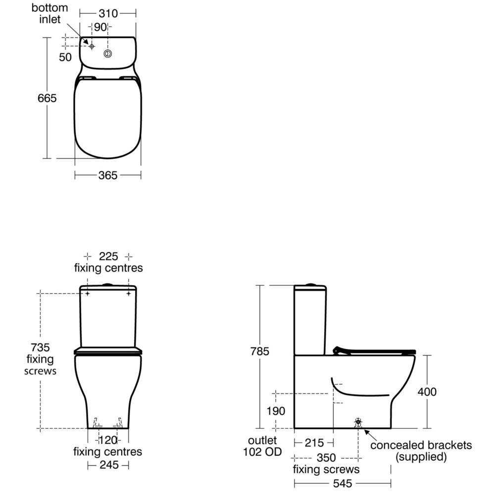 Ideal Standard Tesi Aquablade Close Coupled Back-To-Wall
