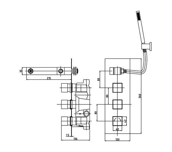 Premier Bathroom Volt Twin Thermostatic Valve With