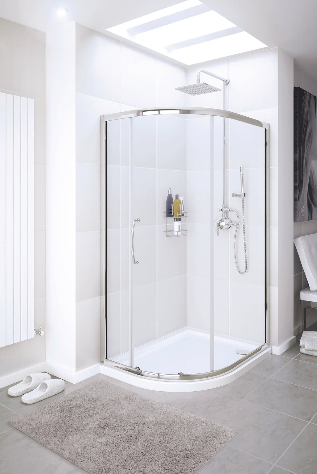 Lakes Classic Silver Single Door Quadrant Shower Enclosure