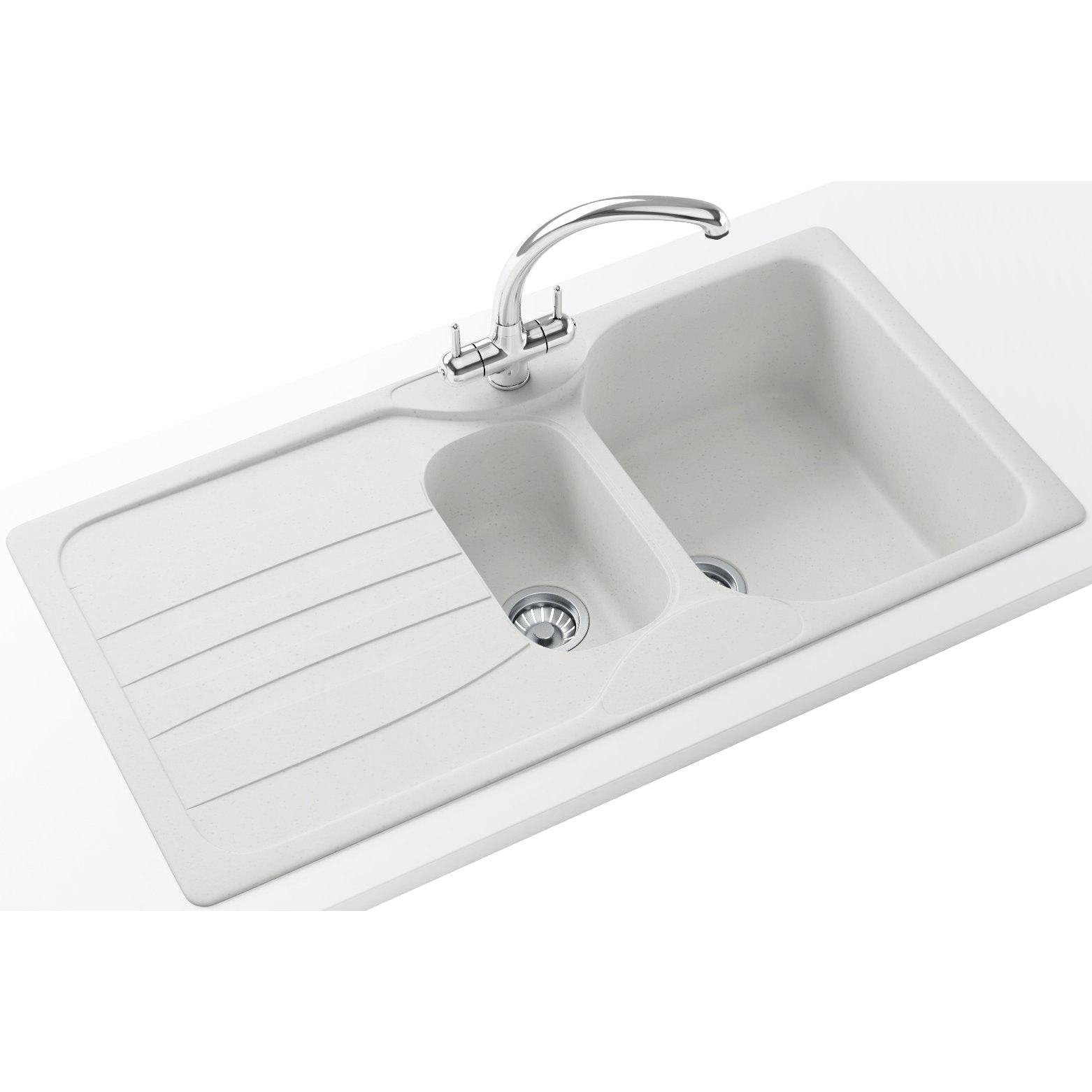 franke kitchen sinks aid grinder calypso propack cog 651 fragranite polar white sink