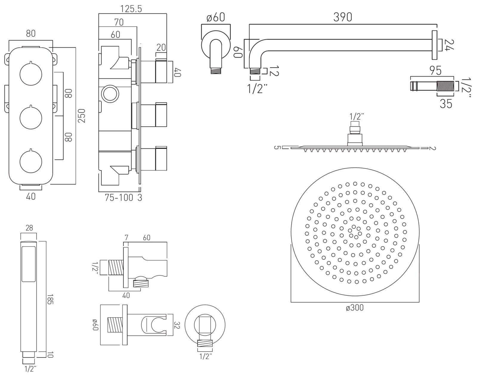 Vado Tablet Altitude Vertical 2 Outlet Thermostatic Shower
