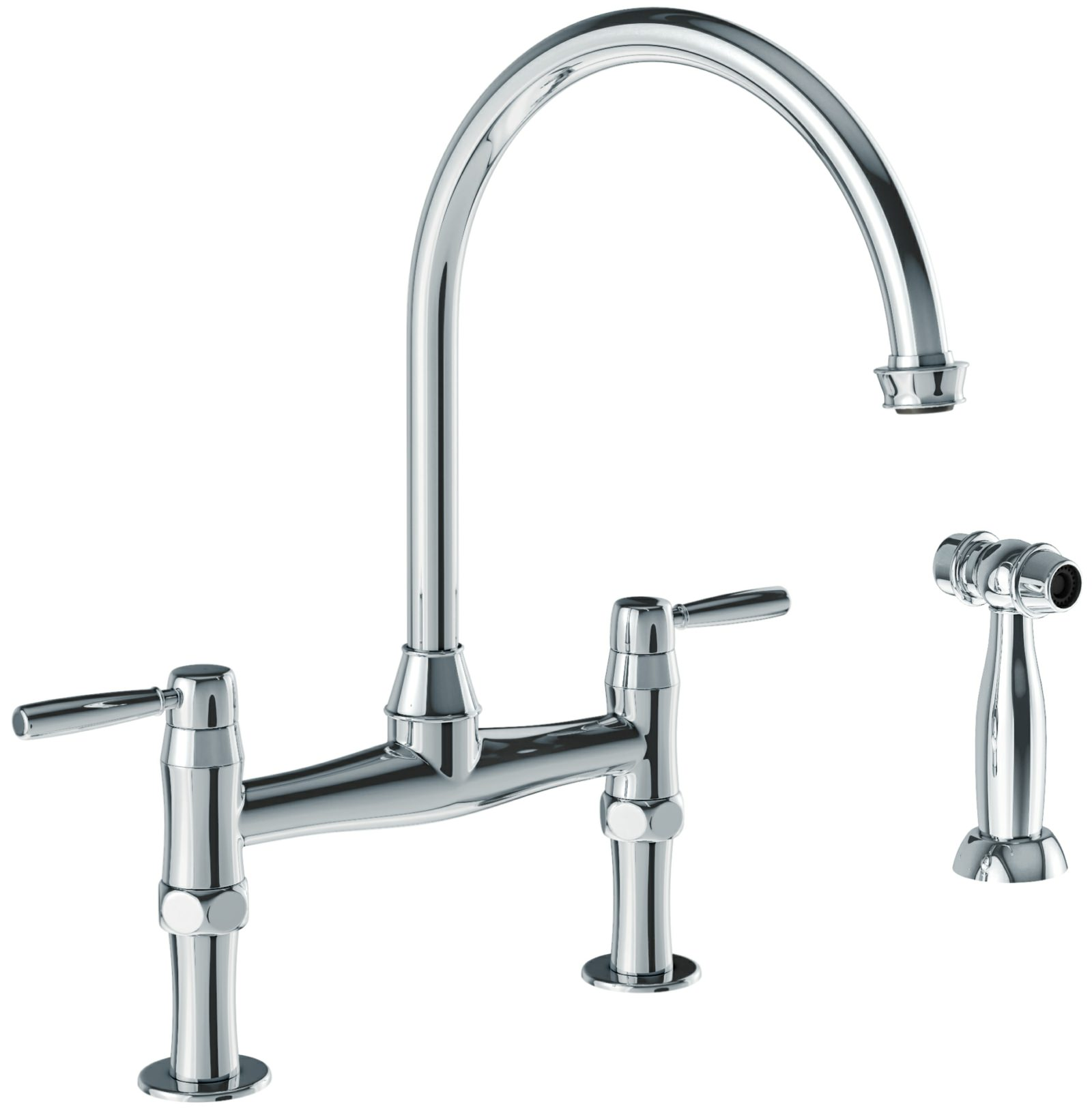 Abode Brompton Chrome Bridge Kitchen Mixer Tap With