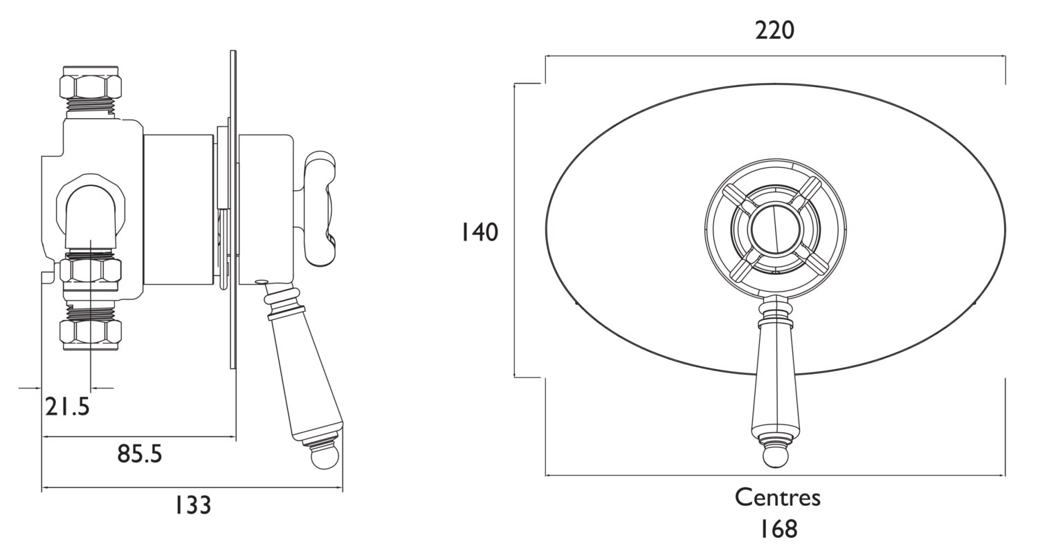 Bristan 1901 Thermostatic Recessed Dual Control Shower