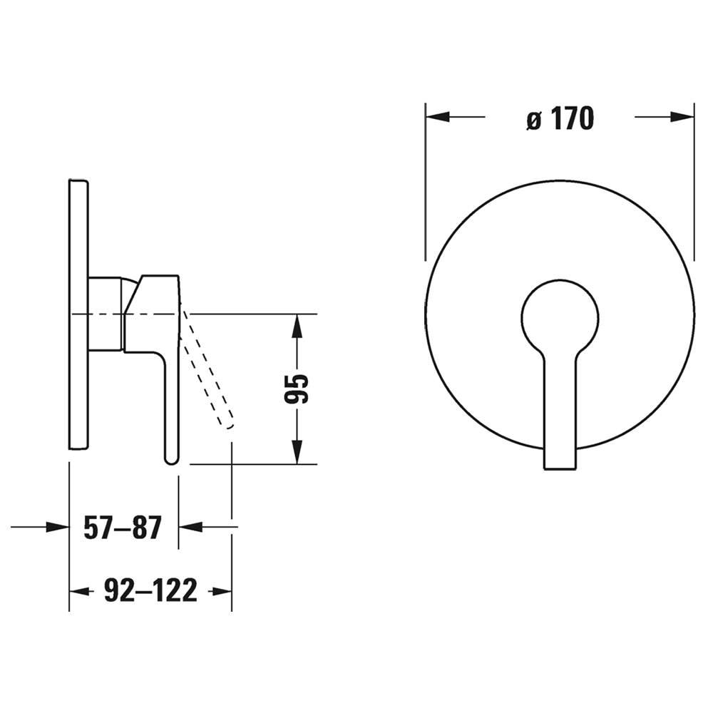 Duravit B.2 Round Concealed Manual Shower Mixer Valve
