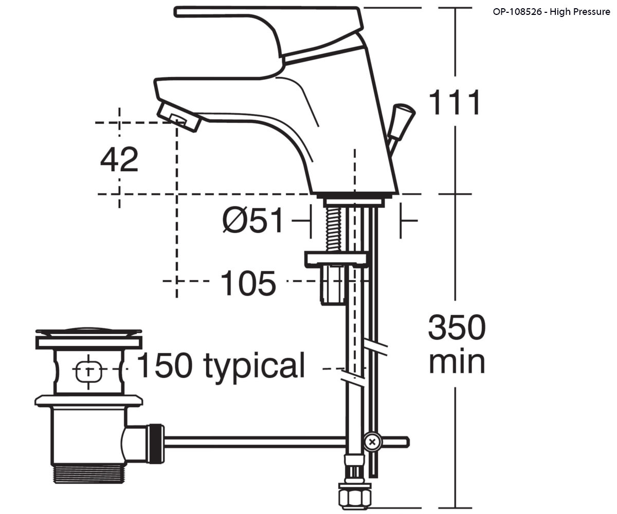 Ideal Standard Alto Single Lever High Pressure Basin Mixer