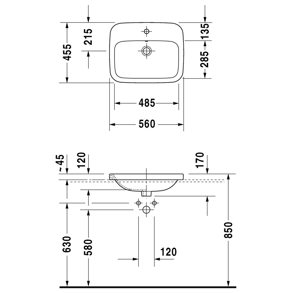 Duravit Durastyle 560 x 455mm 1 Tap Hole Counter Top