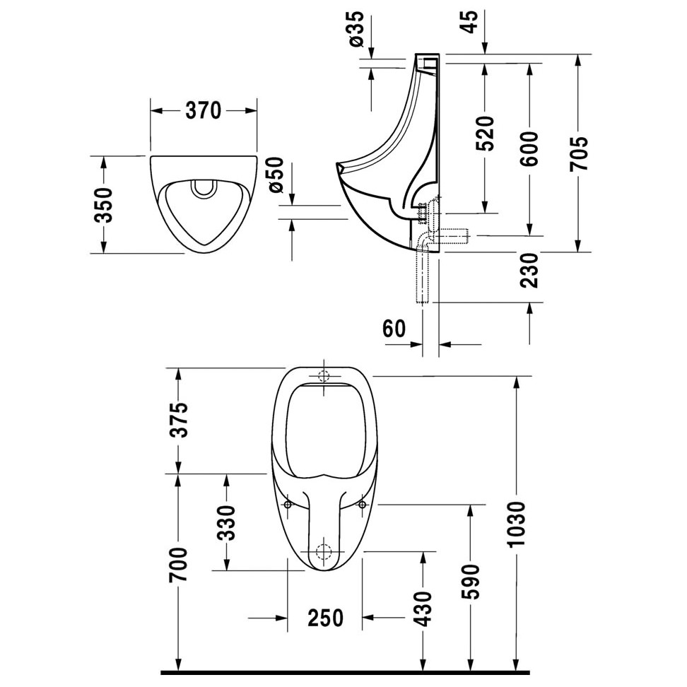 Duravit Urinal Ben 370 x 350mm With Concealed Inlet