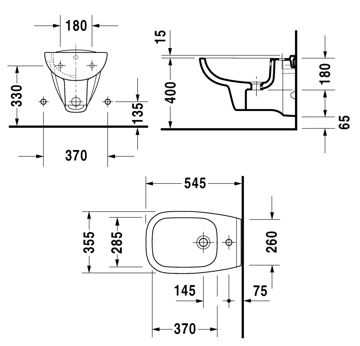 Duravit D Code 545mm Wall Mounted Bidet