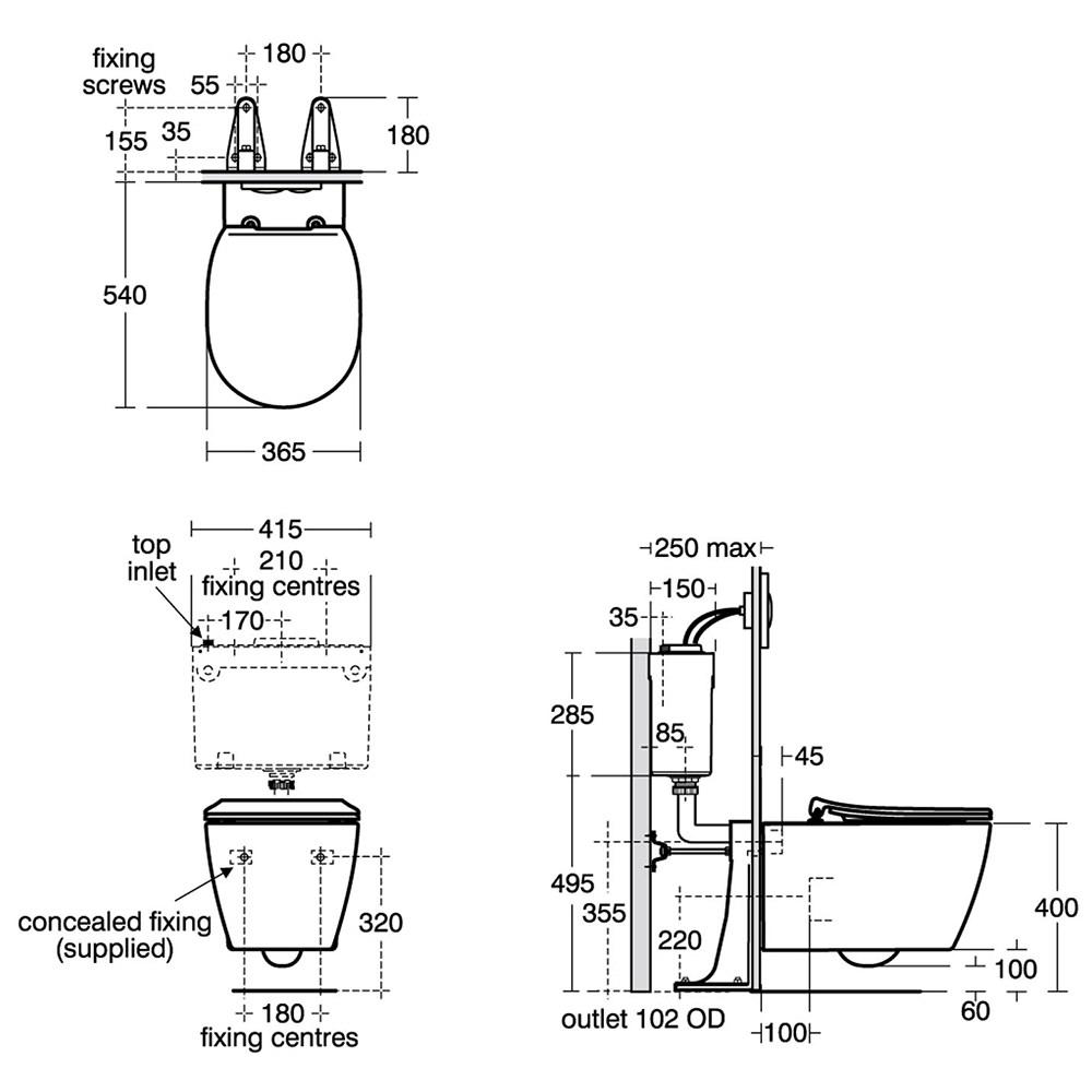 Ideal Standard Concept Aquablade Wall Hung WC Pan 540mm