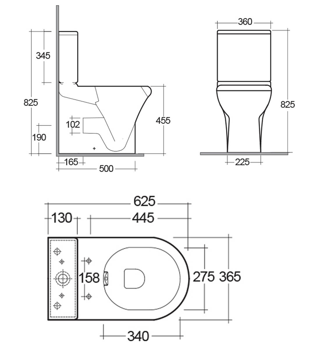 Rak Compact Deluxe Close Coupled Fully Back To Wall Wc