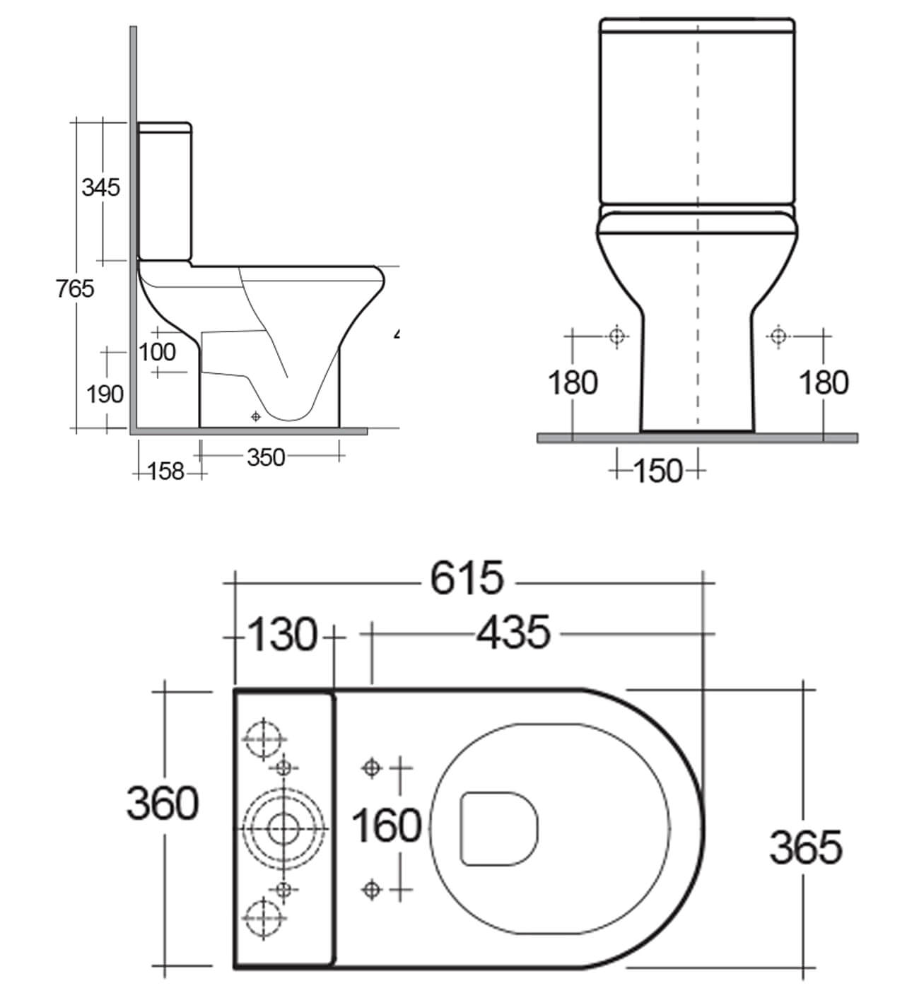 Rak Compact Deluxe Close Coupled Full Access Open Back Wc