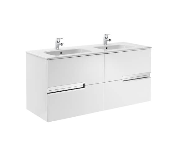 Roca Victoria N 1200mm Gloss White Vanity Unit With 4 Drawer 856657806