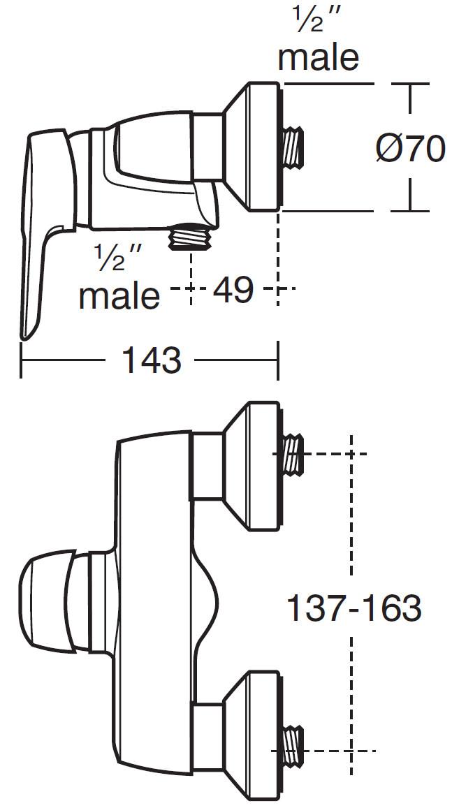 Ideal Standard Ceramix Blue Exposed Manual Shower Mixer Valve