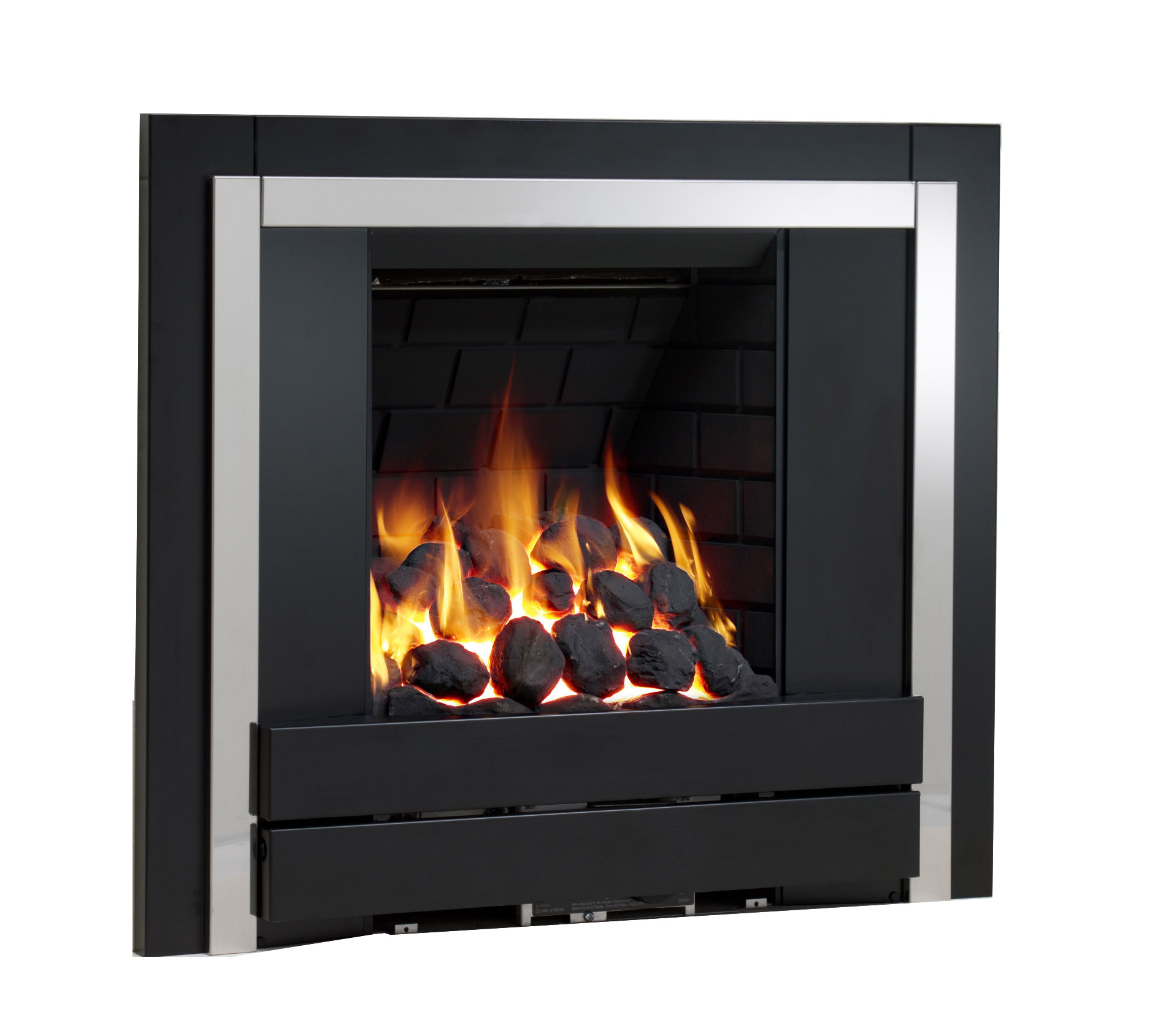 Be Modern Panoramic Full Depth Inset Gas Fire Brick Black