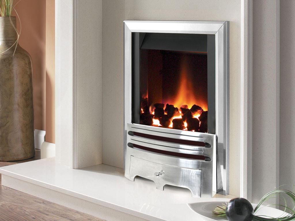 Flavel Warwick Power Flue Gas Fire No Chimney Inset Silver  FVNC37MN
