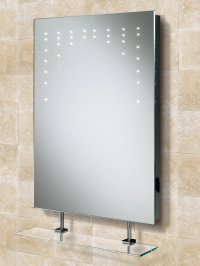 HIB Rain LED Bathroom Mirror With Glass Shelf And Shaver