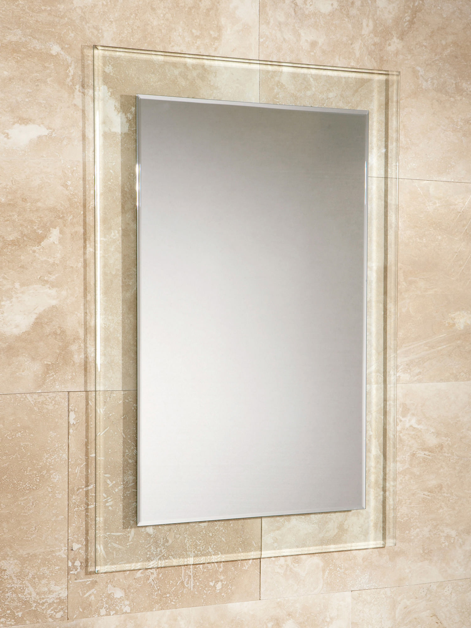 HIB Lola Bevelled Edge Mirror With Clear Glass Frame 500 x