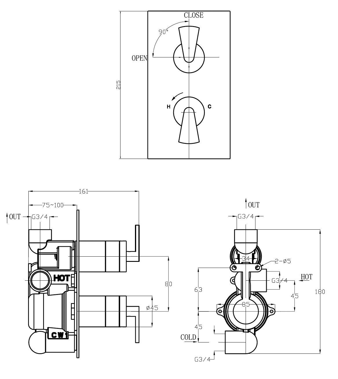 Crosswater Essence Thermostatic Shower Valve with 2 Way