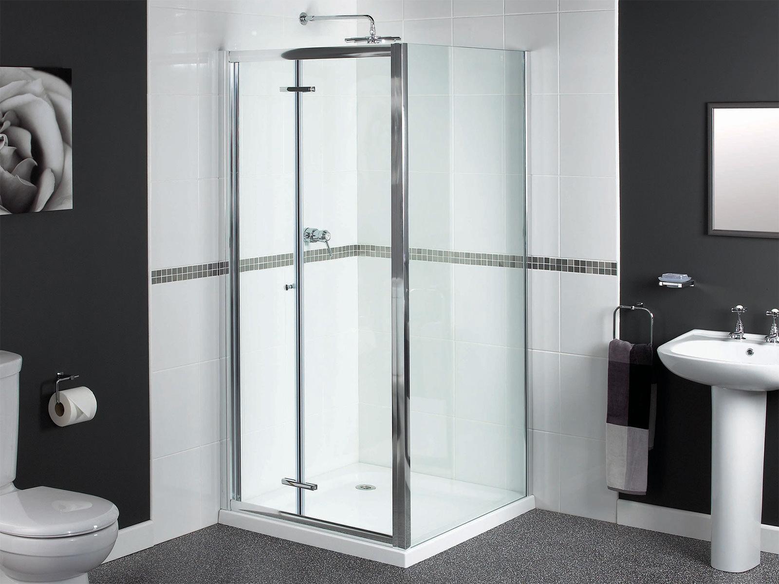 Aqualux Shine Bifold Shower Door 900mm Polished Silver Fen0900aqu