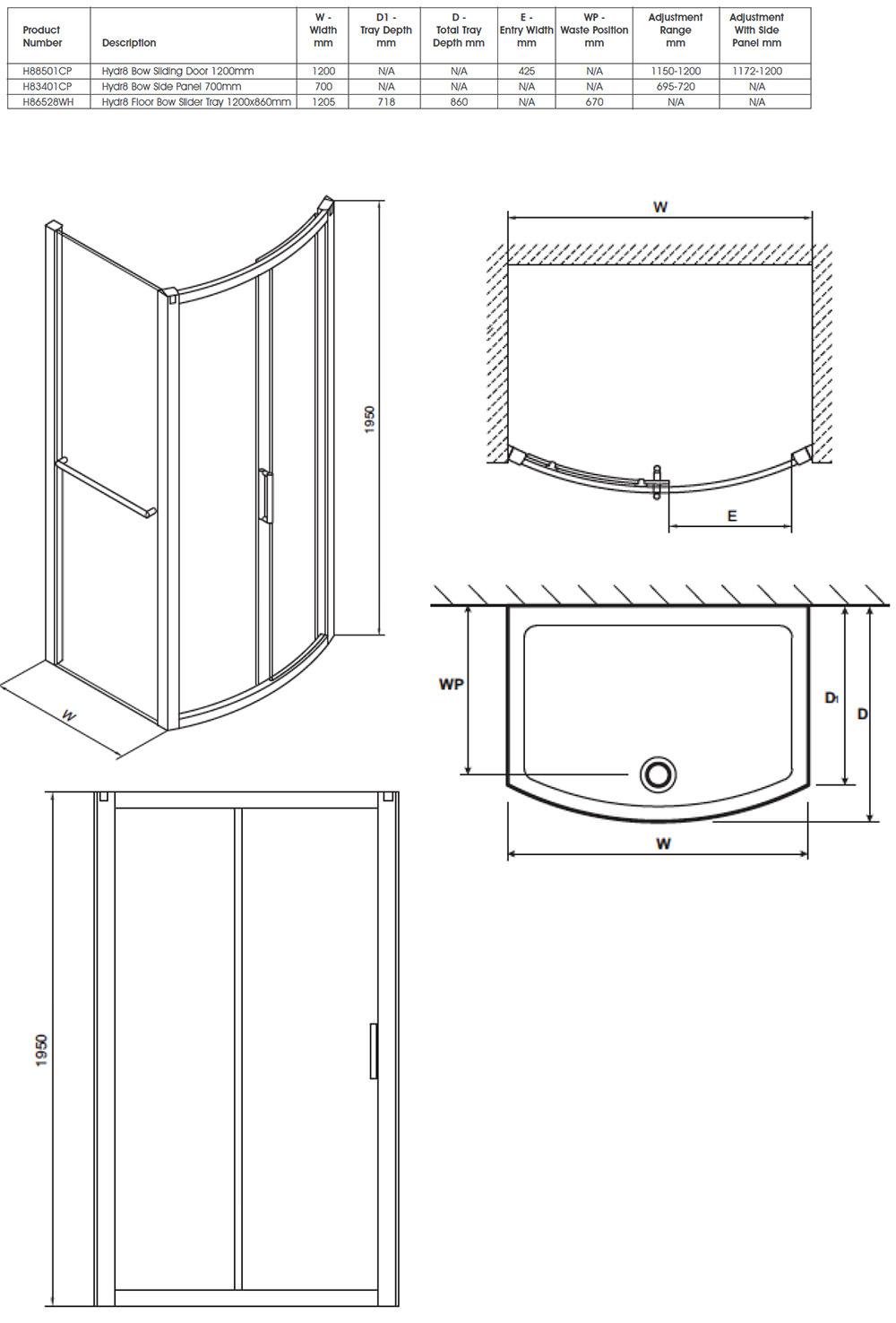 Twyford Hydr8 Bow Sliding Shower Enclosure Door 1200mm