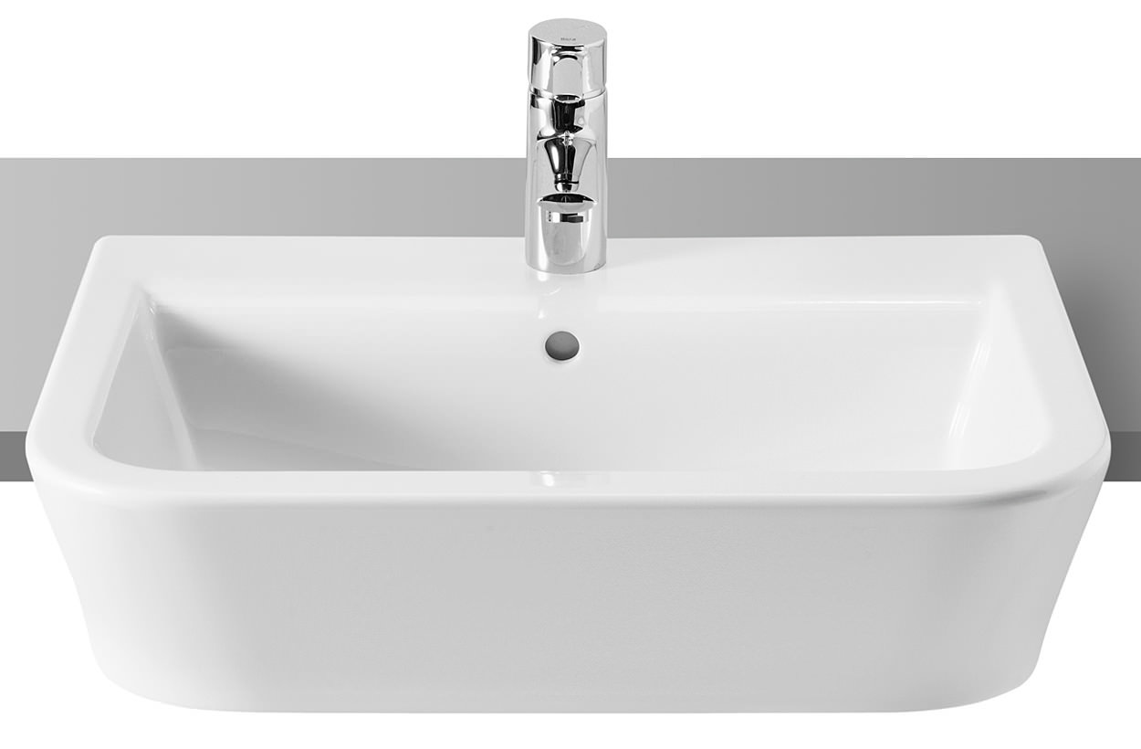 in stock kitchens cart for kitchen roca the gap white semi-recessed basin 560mm wide | 32747s000