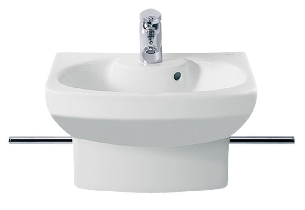 roca senso compact cloakroom basin round shape with semi pedestal