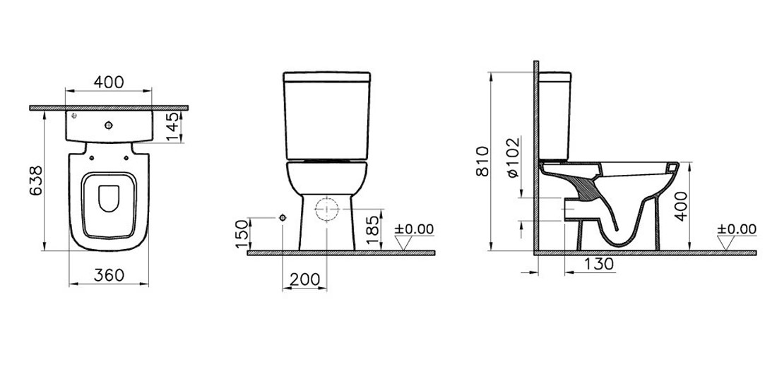 VitrA S20 Open Back Close Coupled WC With Cistern And Seat