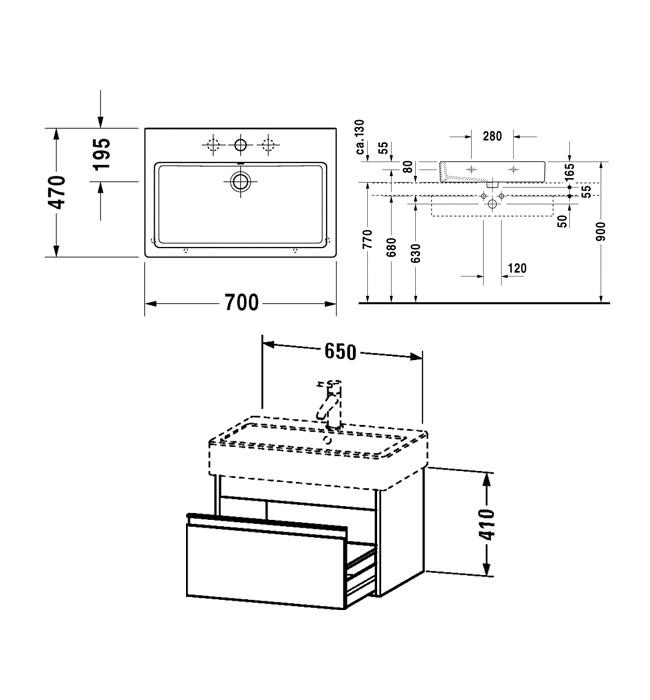 Duravit Ketho 650mm 1 Drawer Unit With Vero 700mm Basin