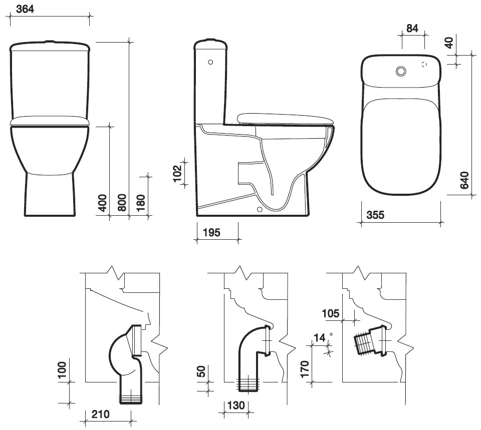 Twyford Moda Rimfree Close Coupled Back-To-Wall WC Pan And