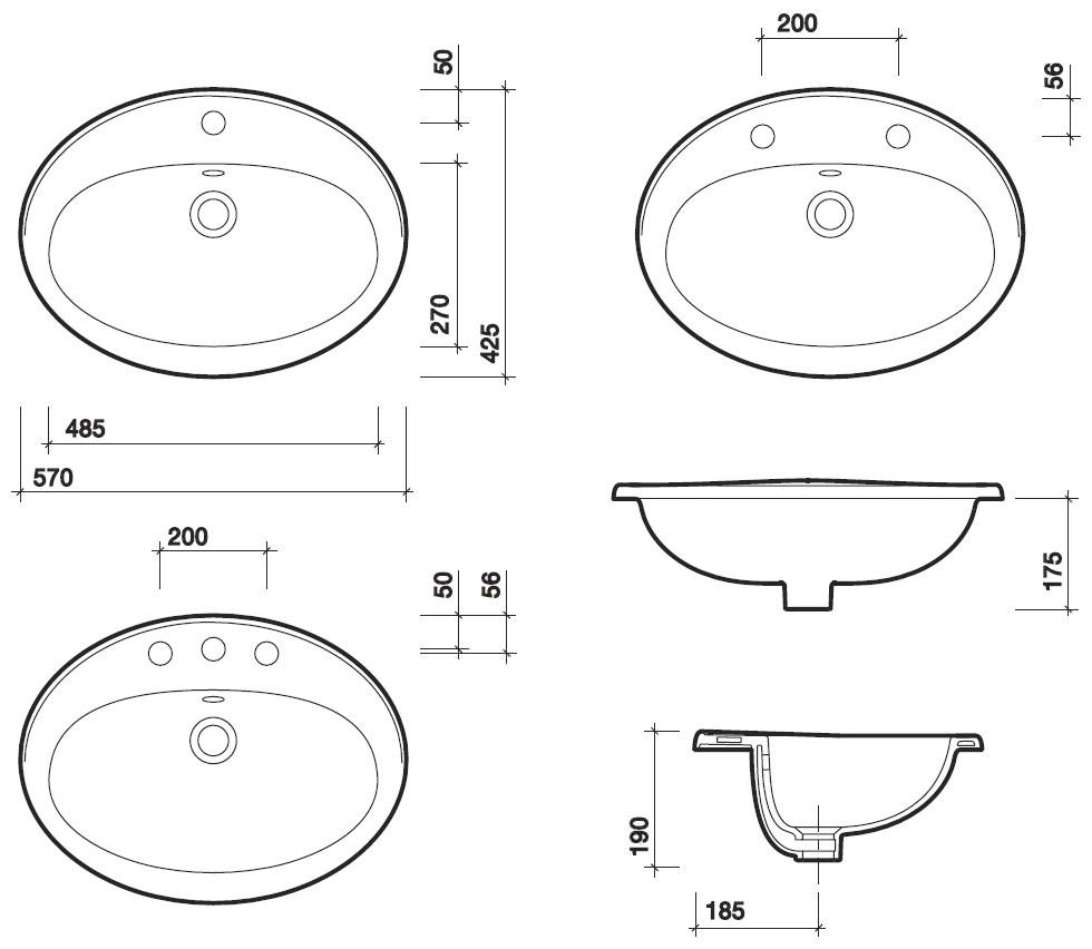 Twyford Entice 1 Tap Hole Countertop Washbasin 570mm