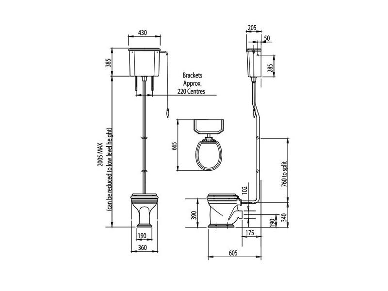 Silverdale Balasani White High Level WC Pan With Cistern