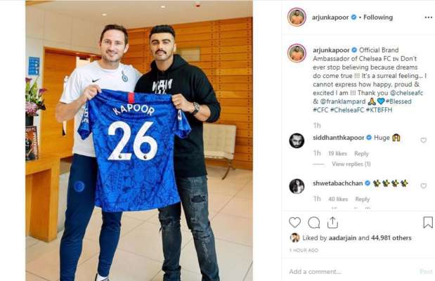 Image result for Arjun Kapoor on being elected as the official Brand Ambassador of Chelsea FC for India: It's a dream come true