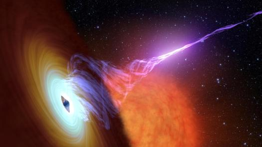Artist concept showing a black hole with an accretion disk – a flat structure of material orbiting the black hole, and a jet of hot gas, known as plasma. Image credit: NASA
