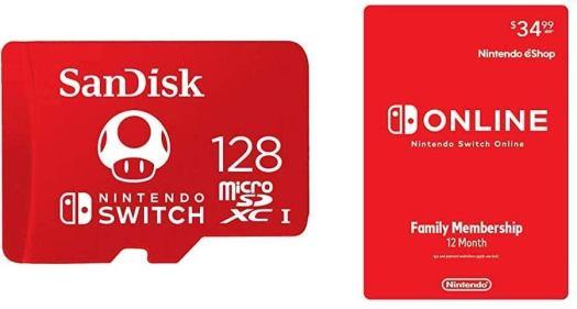 SanDisk 128GB MicroSDXC + Nintendo Switch Online Family Membership 12 Month