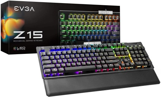 EVGA Z15 RGB Backlit LED Gaming Keyboard w/ Silver Linear Switches