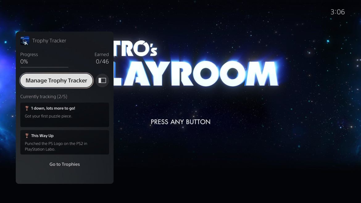 The PS5's second major update includes a trophy tracker that lets you select up to five trophies per game on the Control Center   Image: PlayStation
