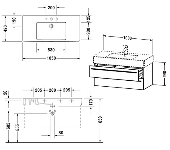 Duravit X-Large 1000mm 2 Drawer Unit With 1050mm Vero