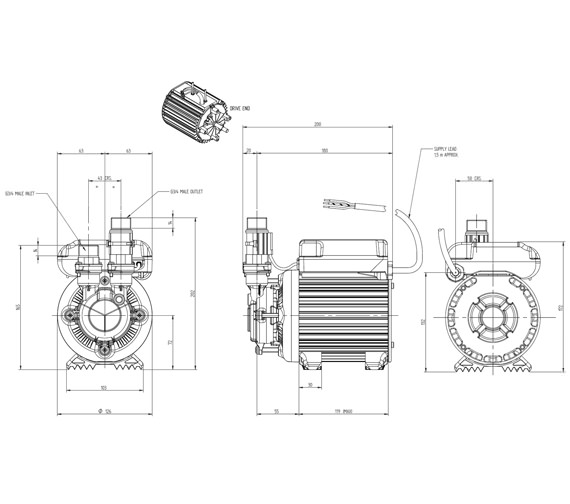 Stuart Turner Monsoon Standard 2.0 Bar Single Shower Pump