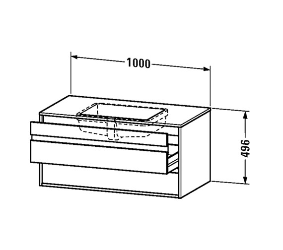 Duravit Ketho 1000mm 2 Drawers Unit For Undercounter Basin