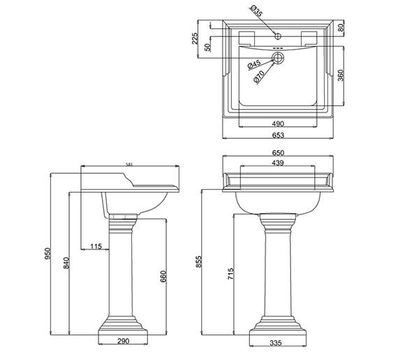 Burlington Classic 650mm Basin With Regal Round Pedestal