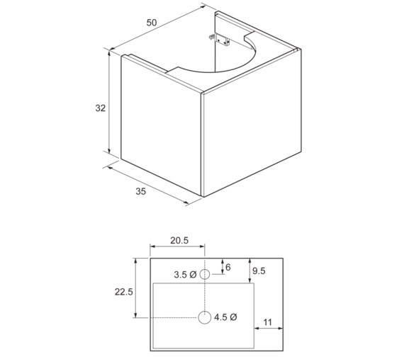 Bauhaus Elite 500mm White Gloss Single Drawer Basin Unit